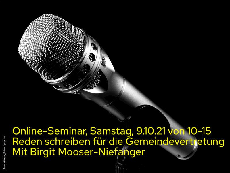 Online-Seminar: Reden schreiben für die Gemeindevertretung am 9.10.2021